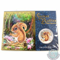 2013 Tuvalu 50-cent Forest Babies Red Squirrel 1/2oz Fine Silver Coin in Display Card (TAX Exempt)