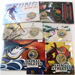 Lot of 6x Australia $1 Coloured Coins in Display Cards Sealed in Plastic. You will receive 2012 Anim