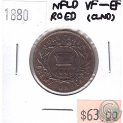 1880 Newfoundland 1-cent RO ED VF-EF (Cleaned)