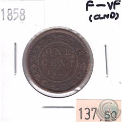 1858 Canada 1-cent F-VF (Cleaned)