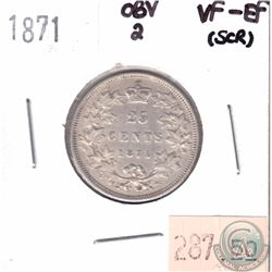 1871 Canada 25-cent Obverse 2 VF-EF (Scratched)