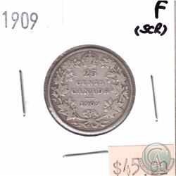 1909 Canada 25-cent Fine (Scratched)