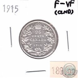1915 Canada 25-cent F-VF (Cleaned)