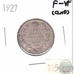 1927 Canada 25-cent F-VF (Cleaned)
