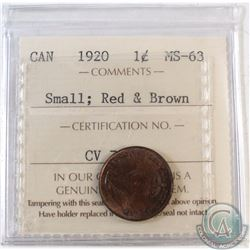 1920 Canada Small 1-cent ICCS Certified MS-63 Red & Brown