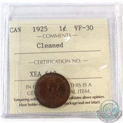 1925 Canada 1-cent ICCS Certified VF-30 (Cleaned)