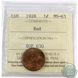 1928 Canada 1-cent ICCS Certified MS-63 Red