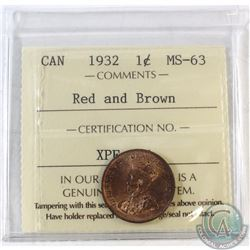 1932 Canada 1-cent ICCS Certified MS-63 Red and Brown