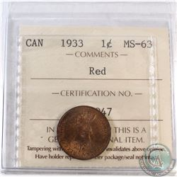 1933 Canada 1-cent ICCS Certified MS-63 Red