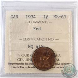 1934 Canada 1-cent ICCS Certified MS-63 Red