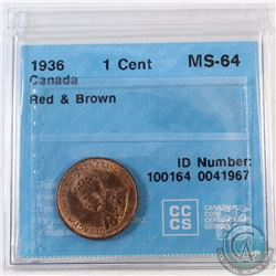 1936 Canada 1-cent CCCS Certified MS-64 Red and Brown