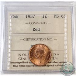 1937 Canada 1-cent ICCS Certified MS-65 Red