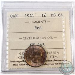 1941 Canada 1-cent ICCS Certified MS-64 Red