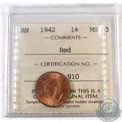 1942 Canada 1-cent ICCS Certified MS-63 Red