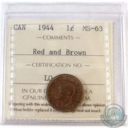 1944 Canada 1-cent ICCS Certified MS-63 Red and Brown