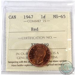 1947 Canada 1-cent ICCS Certified MS-65 Red