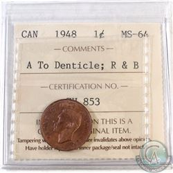 1948 Canada 1-cent A to Denticle ICCS Certified MS-64 Red and Brown