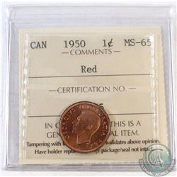 1950 Canada 1-cent ICCS Certified MS-65 Red