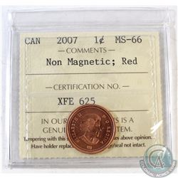 2007 Canada 1-cent Non-Magnetic ICCS Certified MS-66 Red