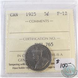 1925 Canada 5-cent ICCS Certified F-12