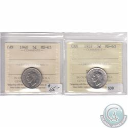 1937 & 1940 Canada 5-cent ICCS Certified MS-63. 2pcs