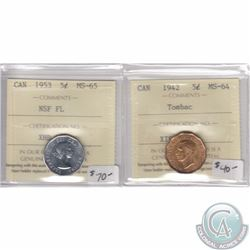 1942 Canada 5-cent Tombac ICCS Certified MS-64 & 1953 5-cent NSF FL MS-65. 2pcs