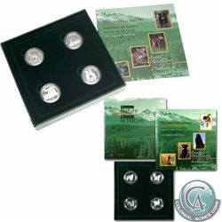 1996 Little Wild Ones & 1997 Dogs of Canada 4-Coin Sterling Silver Proof 50ct Set - includes 2015 Ch