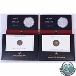 Lot of 2x 2006 Canada Architectural Treasures Series Fine Silver Coins: Notre-Dame Basilica & CN Tow