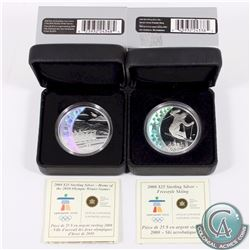 2x 2008 Canada Olympic Games Sterling Silver Hologram Coins. You will receive Freestyle Skiing & Hom
