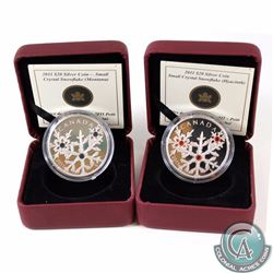 2x 2011 Canada $20 Small Crystal Snowflake Fine Silver Coins. You will receive Montana & Hyacinth ve