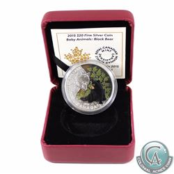 2015 Canada $20 Baby Animals - Black Bear Fine Silver Coin. Comes encapsulated in maroon RCM display