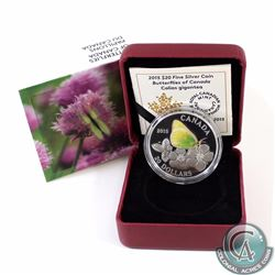 2015 Canada $20 Butterflies of Canada - Giant Sulphur Fine Silver Coin (Capsule is lightly scratched