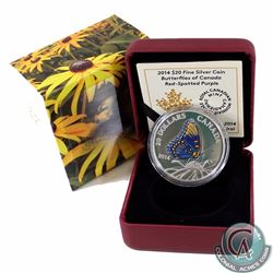 2014 Canada $20 Butterflies of Canada - Red-Spotted Purple Fine Silver Coin (Small spot on back of c