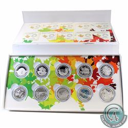Complete 2014 O Canada Series $10 Fine Silver 10-coin Set with Deluxe Box (TAX Exempt) - scuffed out