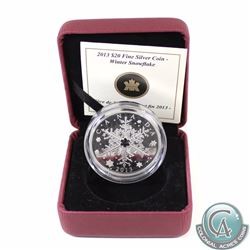 2013 Canada $20 Winter Snowflake Fine Silver Coin. Comes encapsulated in maroon RCM display box with