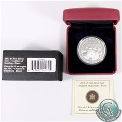 2013 Canada $5 Tradition of Hunting - Bison Fine Silver Coin (Capsule lightly scratched) (TAX Exempt