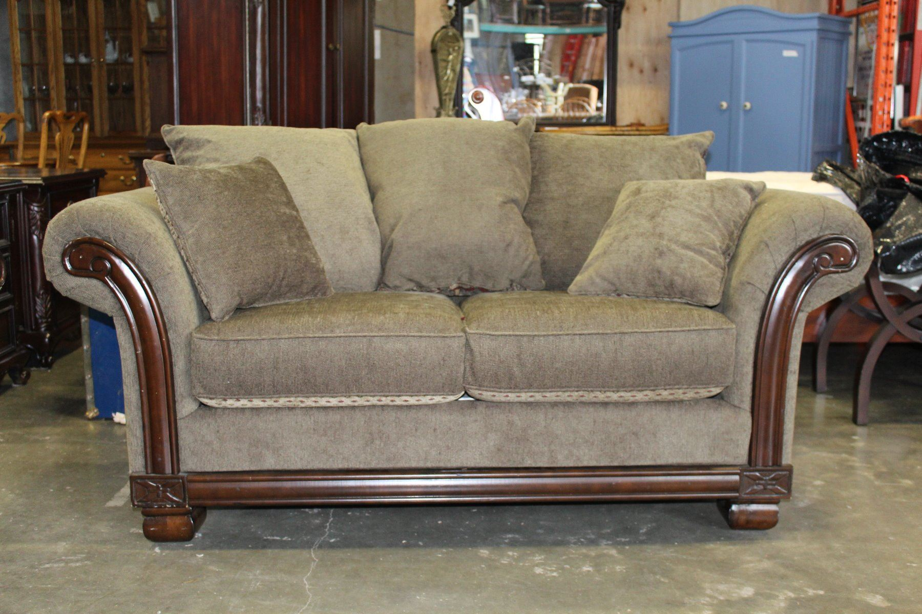 Upolstered Rolled Arm Designer Sofa And Loveseat And Lots Of Matching Throw Pillows