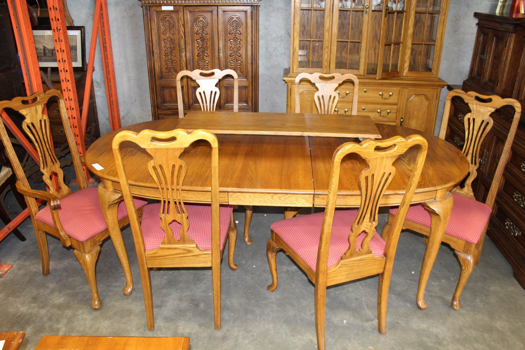 Image 1 JAMESTOWN STERLING SOLID OAK DINING TABLE W 2 LEAFS 6 CHAIRS