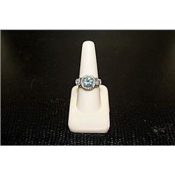 Lady's Beautiful White Gold over Silver London Blue Topaz & Diamond Ring.