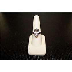 "Lady's Very Fancy  White Gold over Silver ""Pear"" Shape Kunzunite Ring."