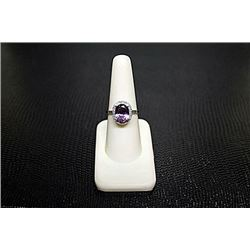 Very Fancy  White Gold over Silver  Oval  Shape Amethyst & Diamond Ring.