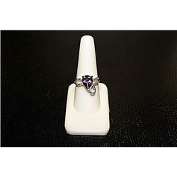 "Lady's Beautiful  White Gold over Silver ""Pear"" Shape Amethyst & Diamond Ring."