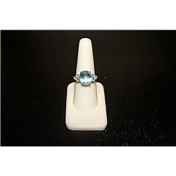 Lady's Beautiful White Gold over Silver London Blue Topaz Ring.