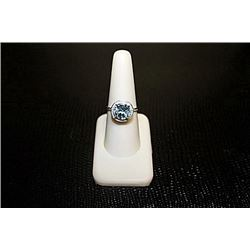 Lady's Very Fancy  White Gold over Silver London Blue Topaz & Diamond Ring.