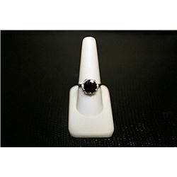 Fancy Lady's White Gold over Silver Rose Garnet & Diamond Ring.