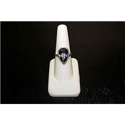 "Stunning Lady's  White Gold over Silver ""Pear"" Shape Alexandrite Lab & Diamond Ring."