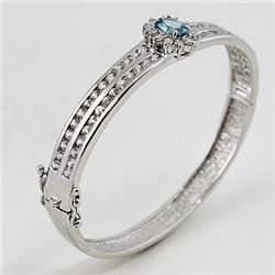 SILVER BANGLE WITH BLUE ZIRCON AND WHITE ZIRCON