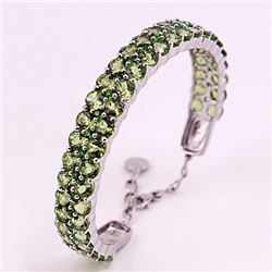 SILVER BANGLE WITH PERIDOT AND CHROME DIOPSIDE
