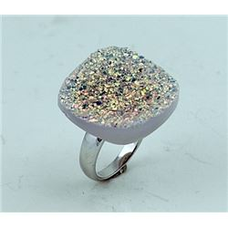 SILVER RING WITH DRUSY
