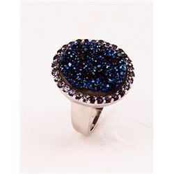 SILVER RING WITH DRUSY AND IOLITE
